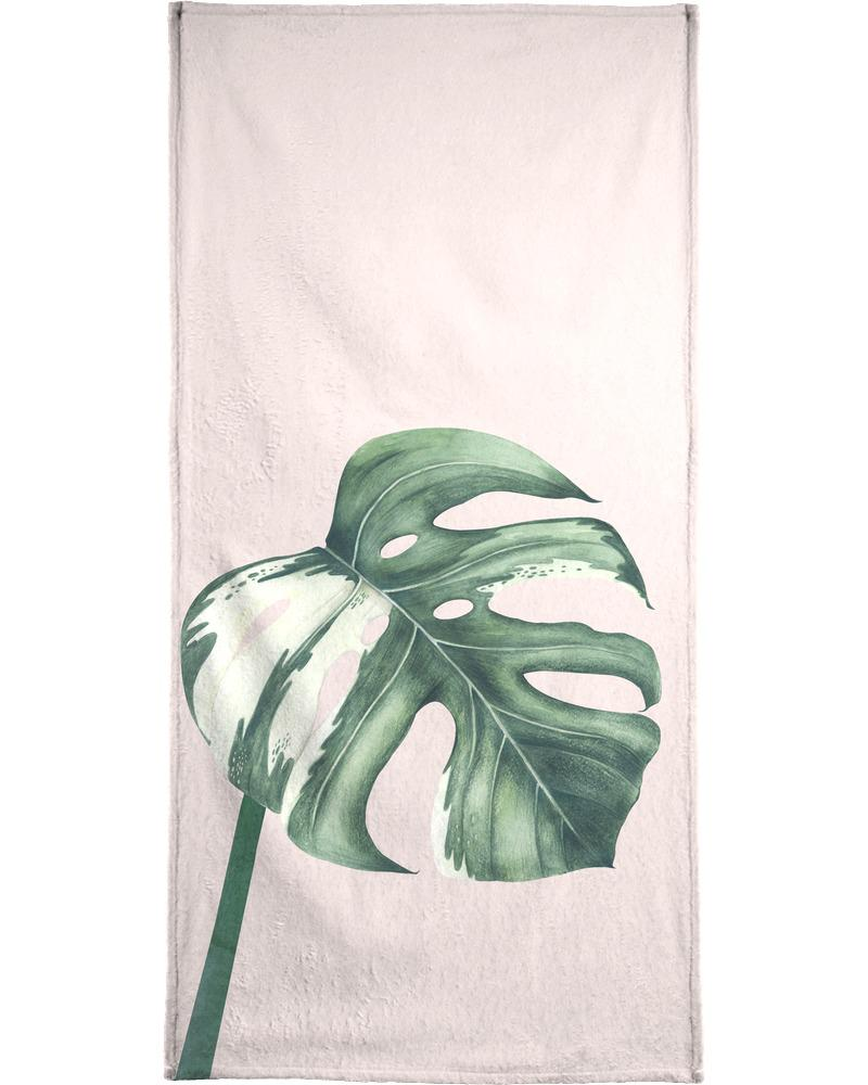 Serviette de bain en éponge-velours en Blanc & Vert/40x80