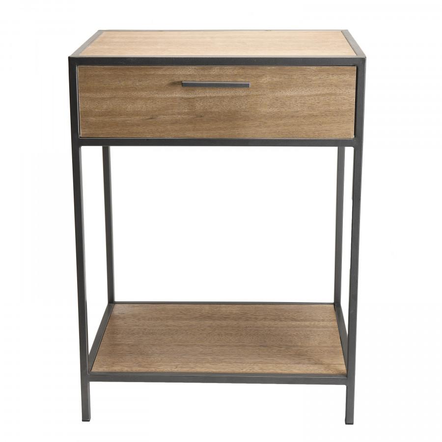 Chevet 1 tiroir 1 étagère bois sapin et métal