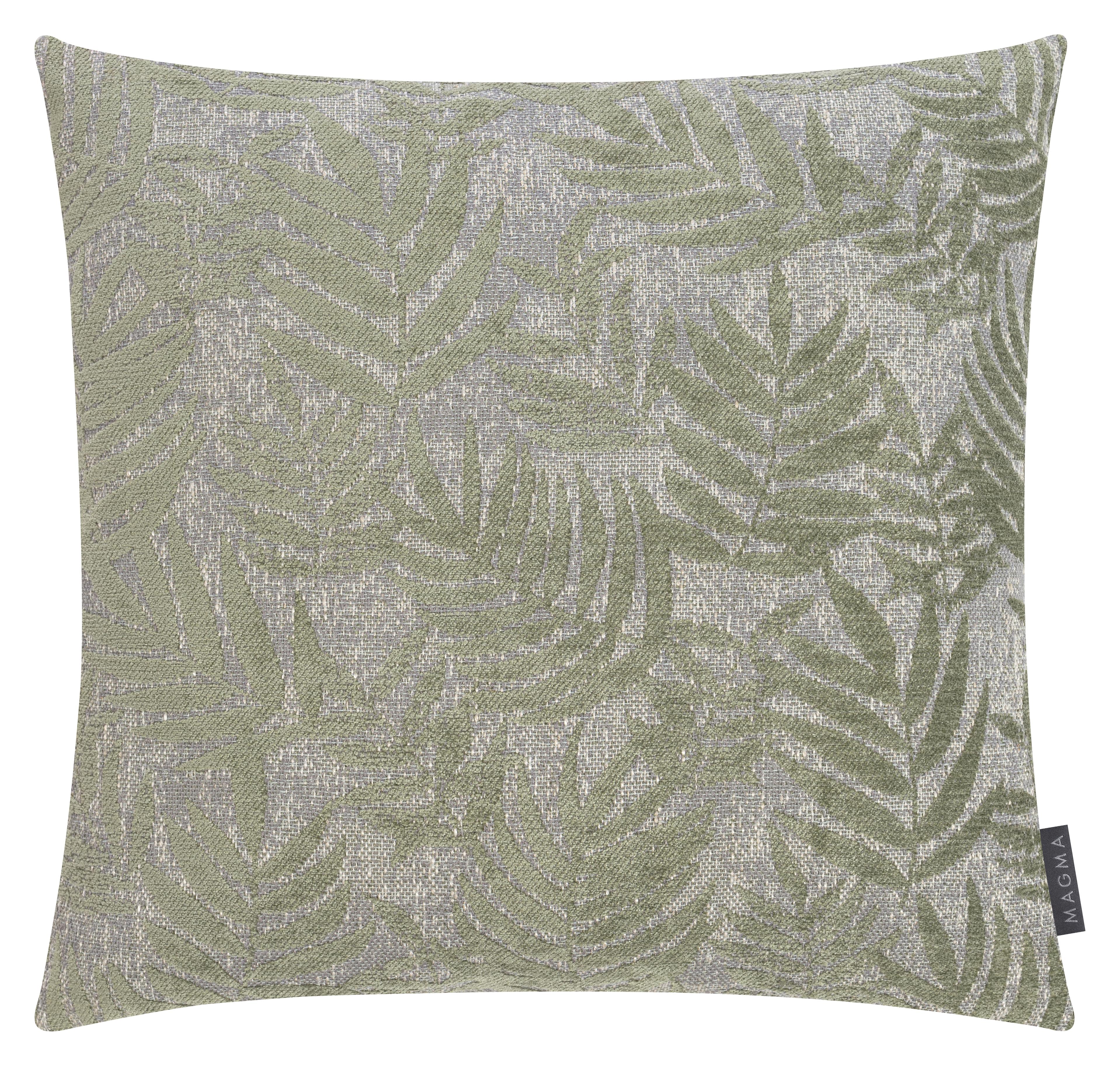 Housses de coussin jacquard velours motif palme vert 40x40 - Lot de 2