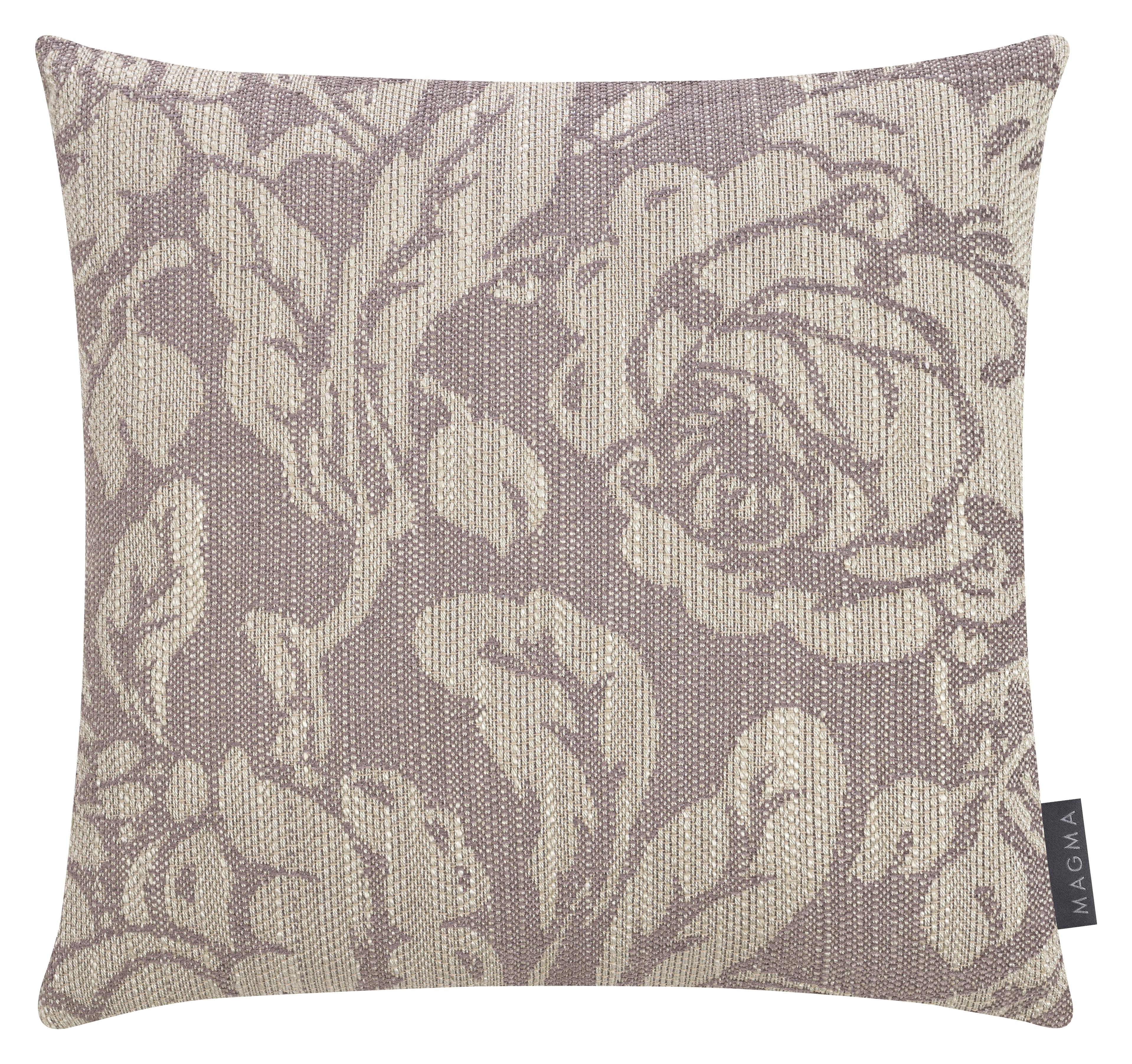 Housses de coussin jacquard motif floral mauve 40x40 -Lot de 2
