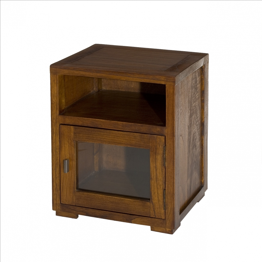 Chevet 1 niche 1 porte vitrée bois