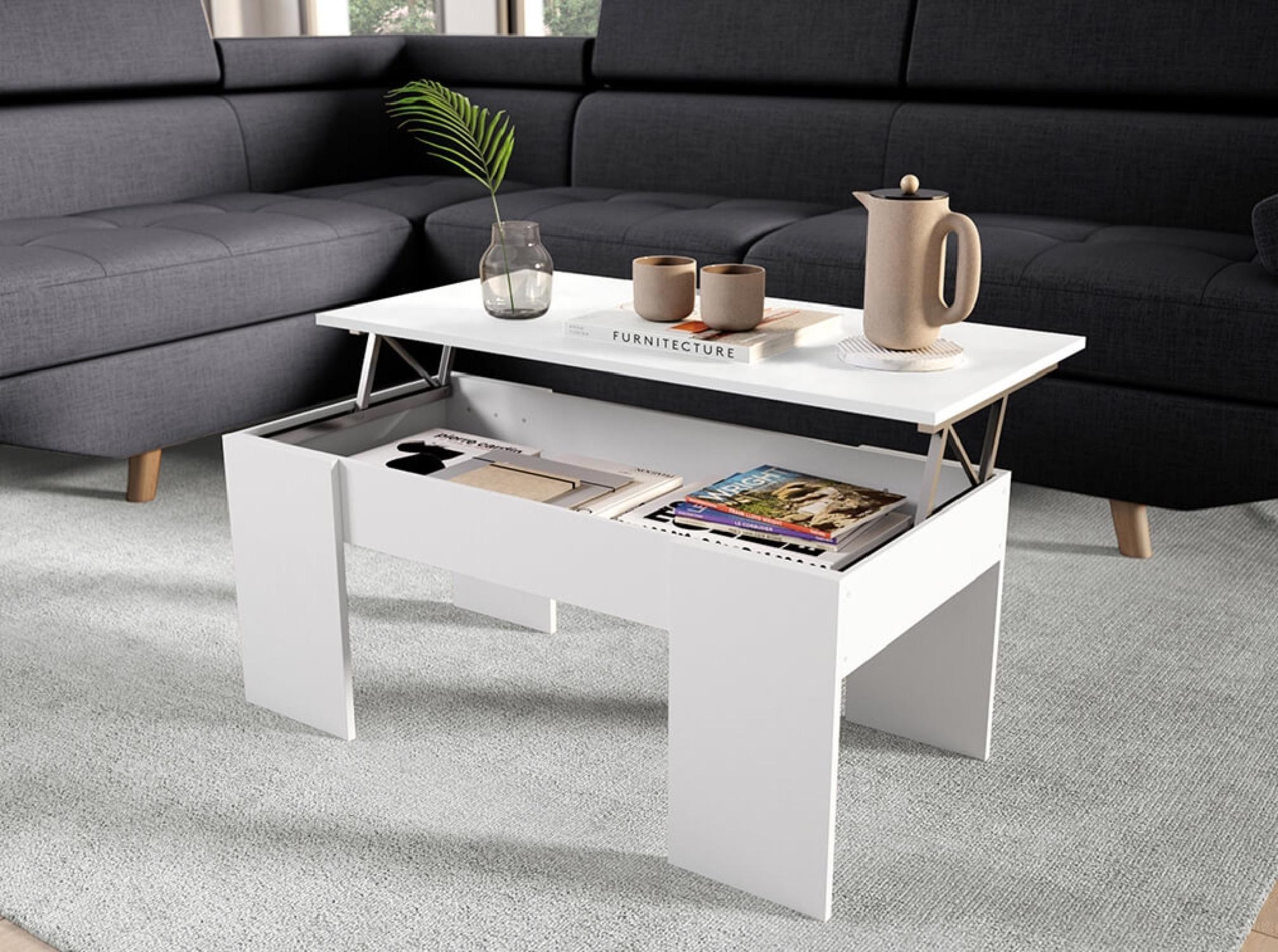 Table basse blanche avec plateau relevable et rangement