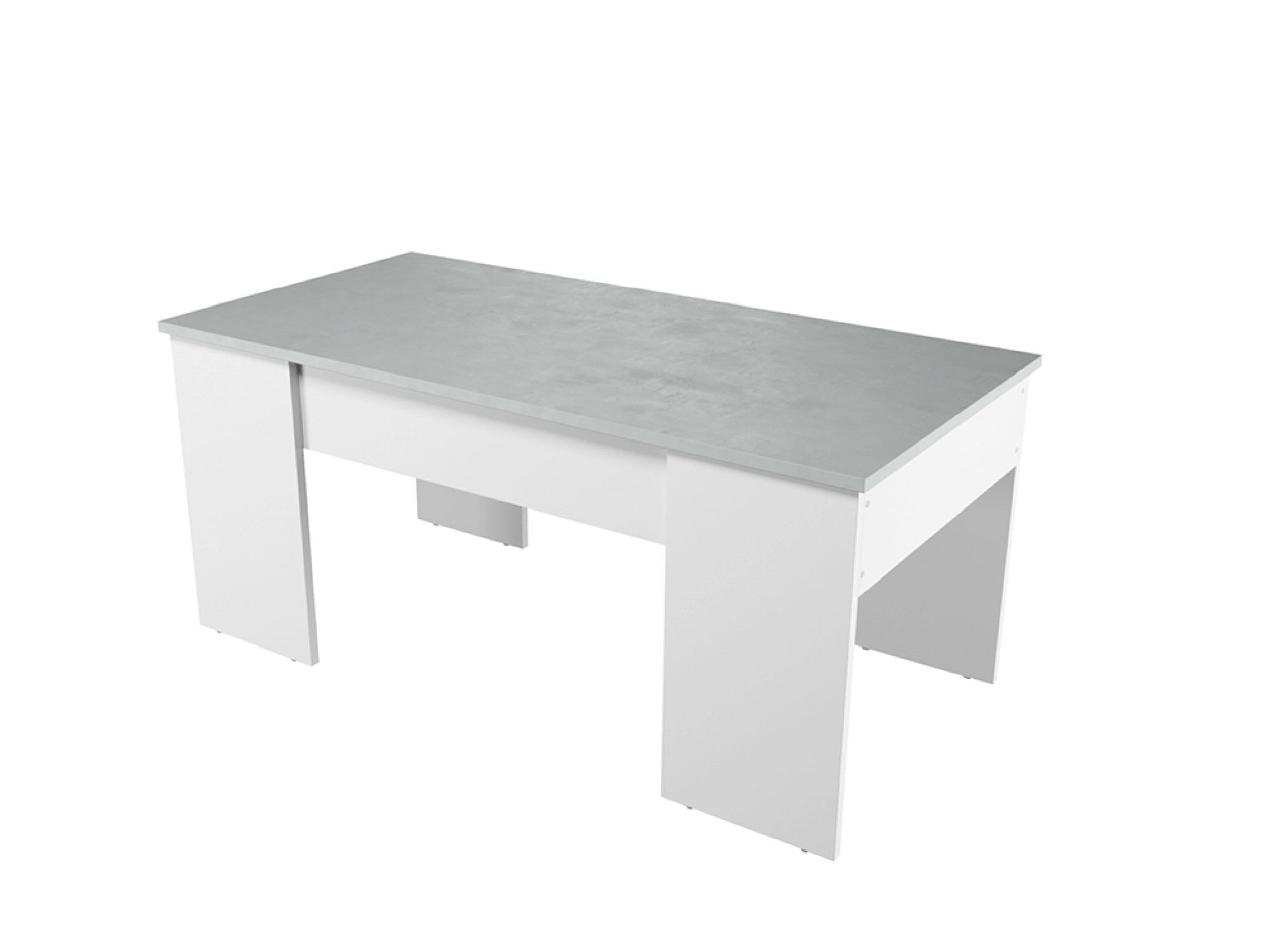 Table basse avec plateau relevable blanc/béton