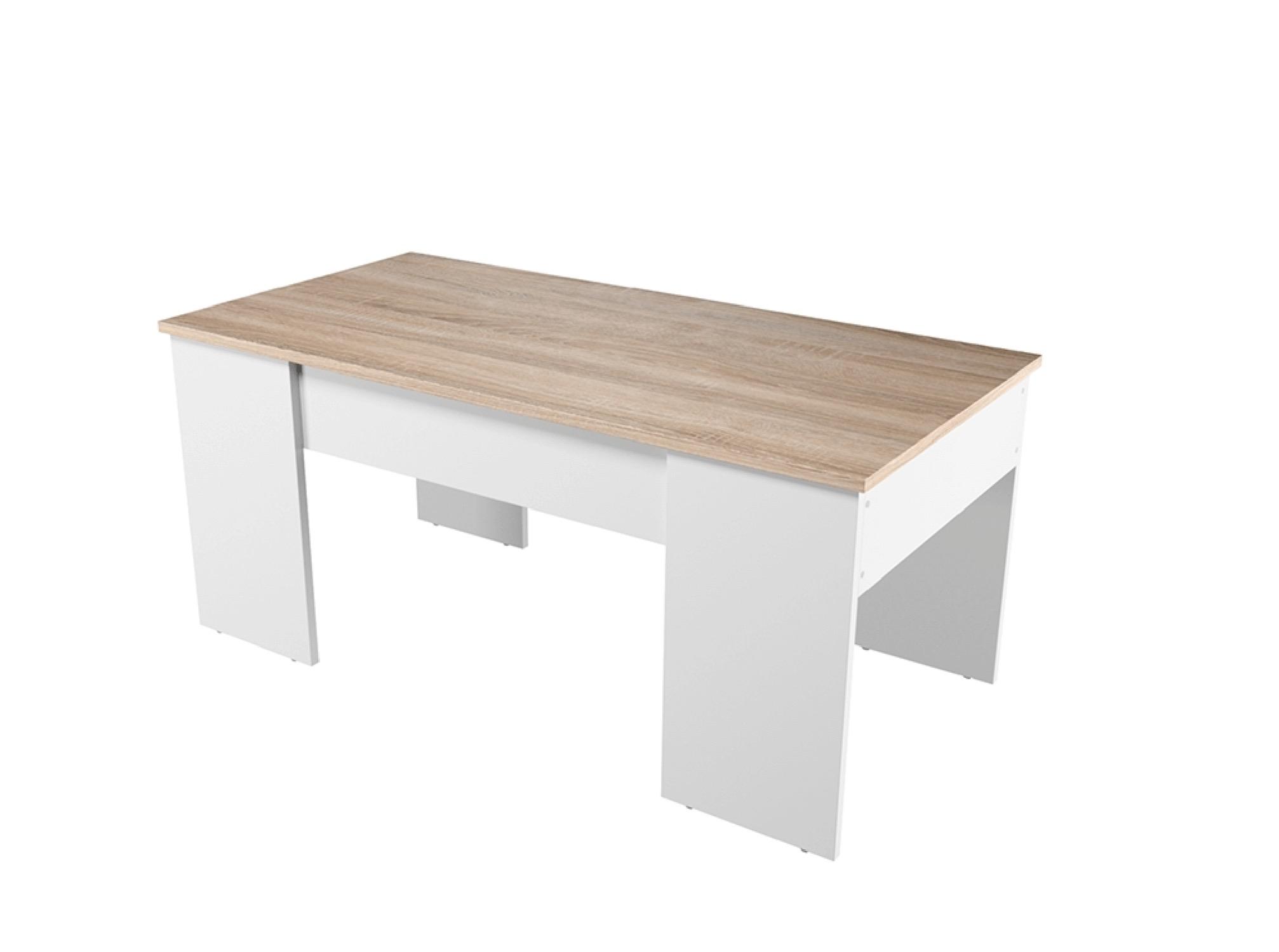 Table basse avec plateau relevable blanc/bois