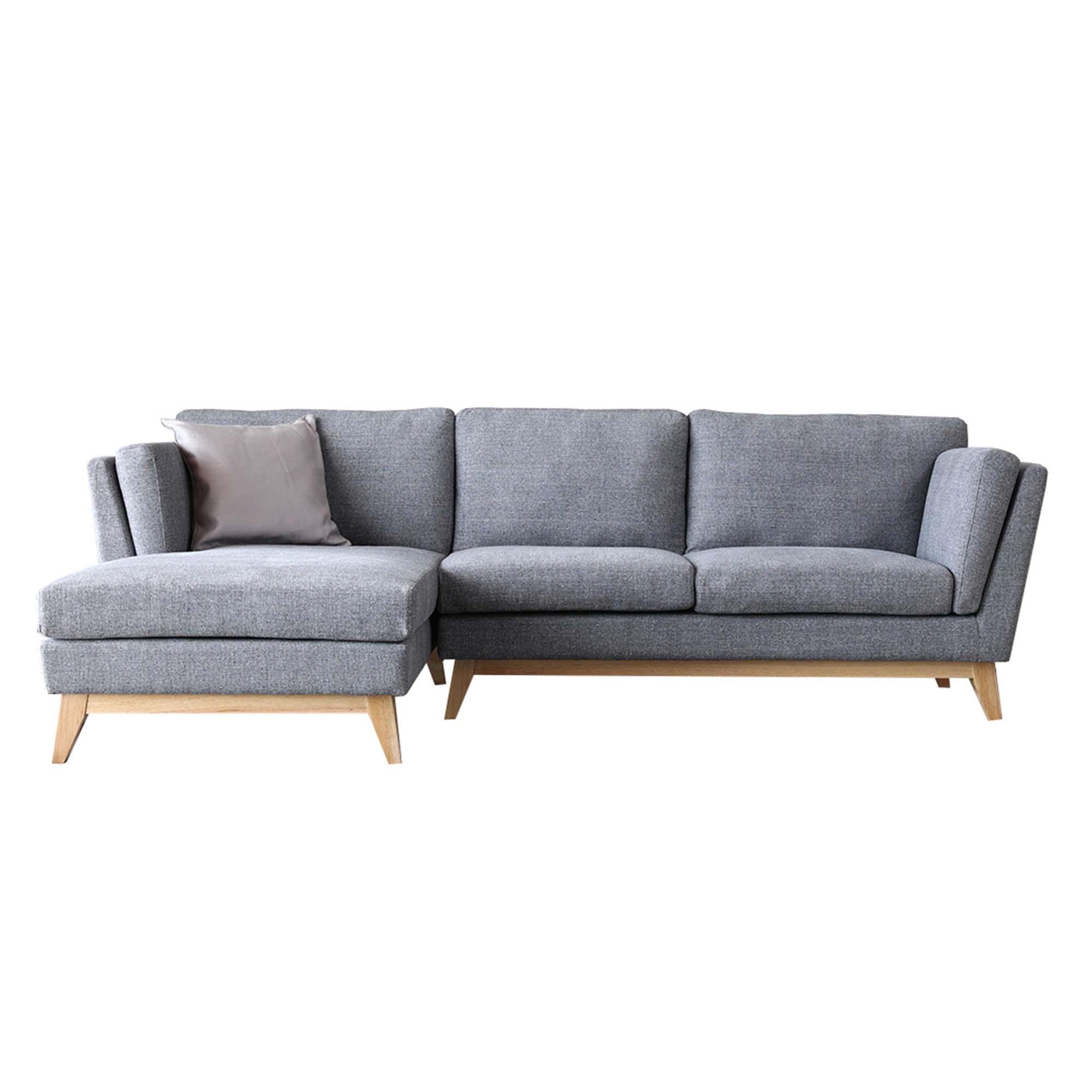 Canapé 3 places méridienne à gauche et pieds bois gris clair