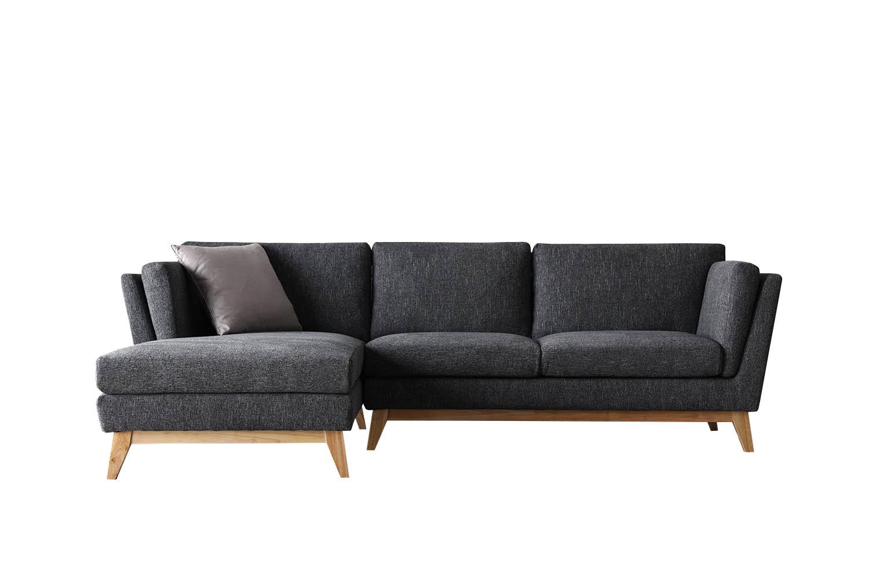 Canapé 3 places méridienne à gauche et pieds bois gris foncé