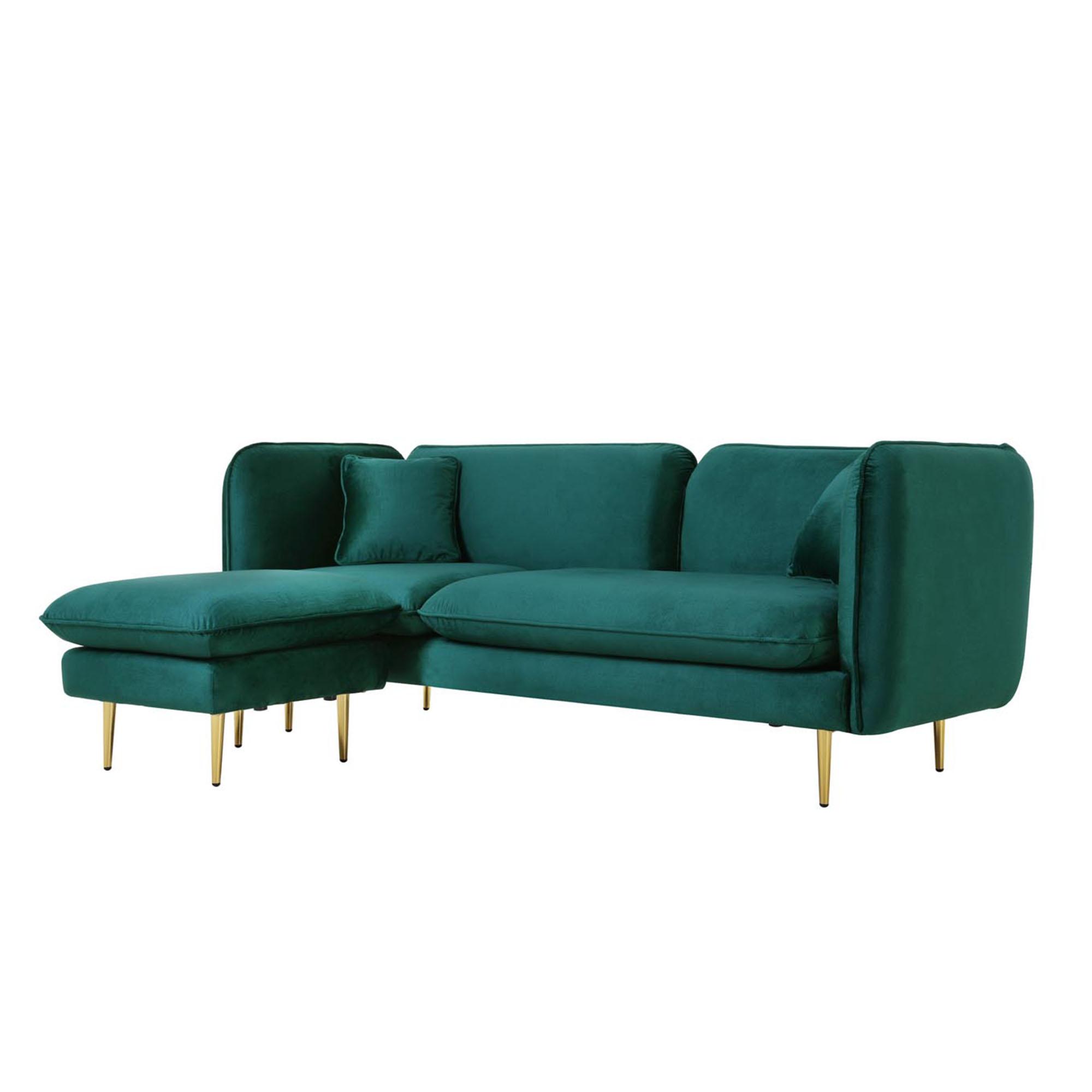 Canapé velours vert émeraude imperméable 3 places + ottoman