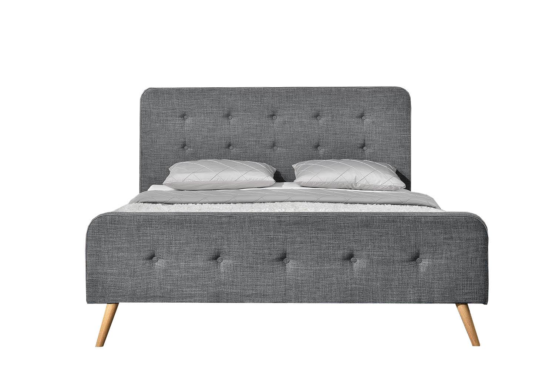 Cadre de lit 140 x 190 cm en tissu gris foncé