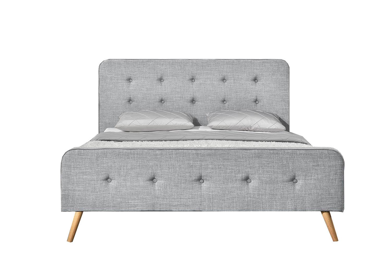 Cadre de lit 160 x 200 cm en tissu gris clair