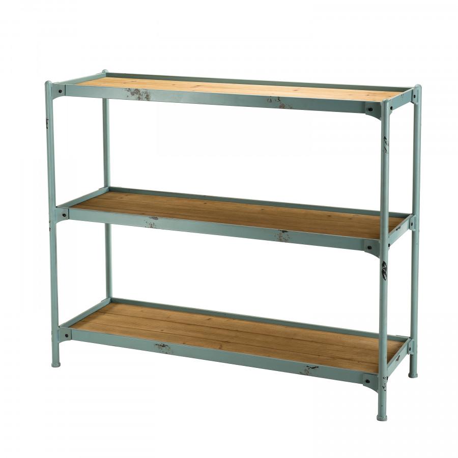 Etagère 3 niveaux métal plateaux bois sapin