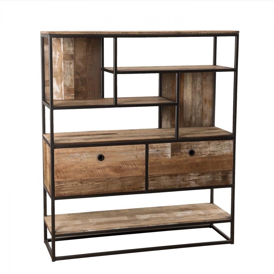Etagère 2 tiroirs bois teck recyclé acacia mahogany métal