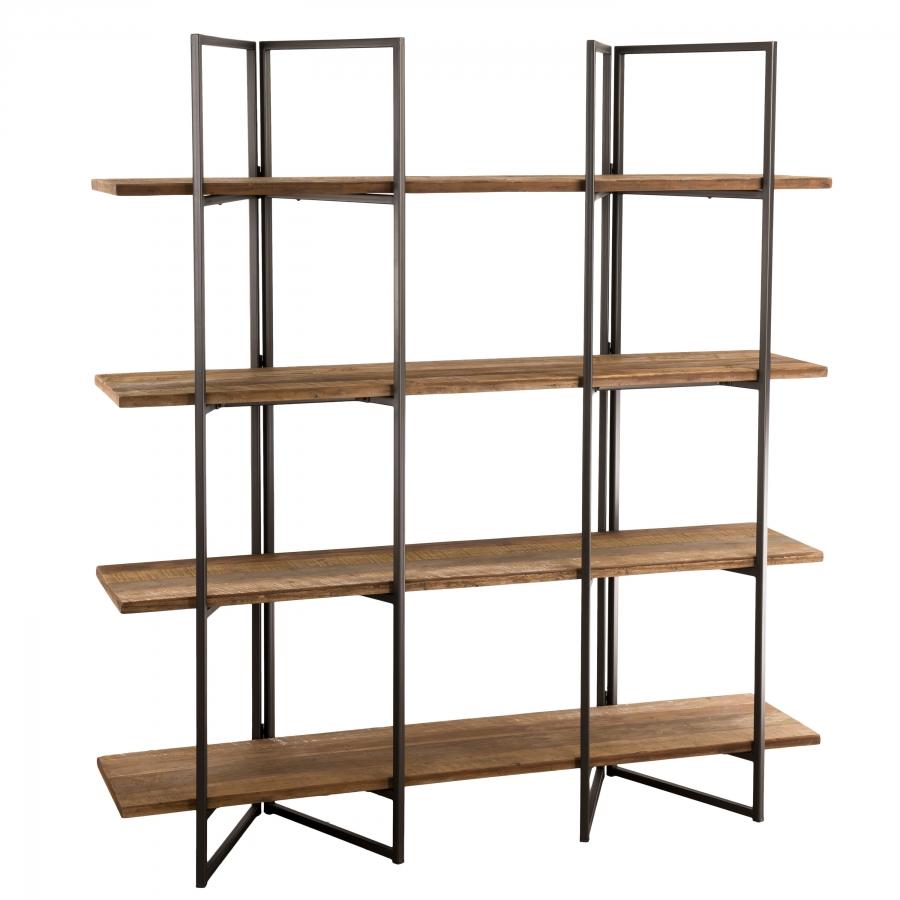 Etagère 4 niveaux bois teck recyclé acacia mahogany métal