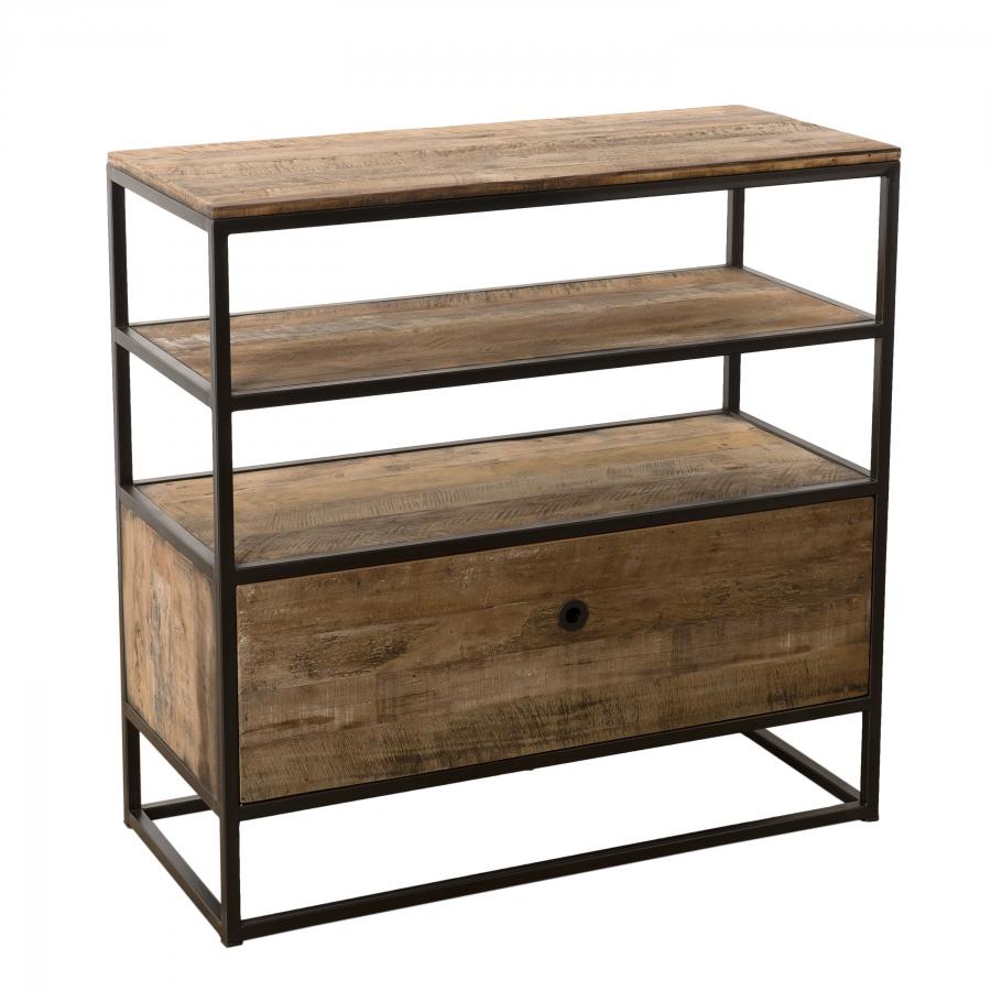 Etagère 1 tiroir bois teck recyclé acacia mahogany métal