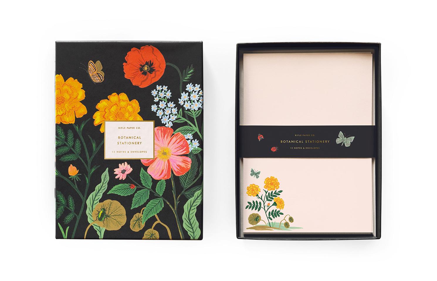 12 cartes correspondance botanical