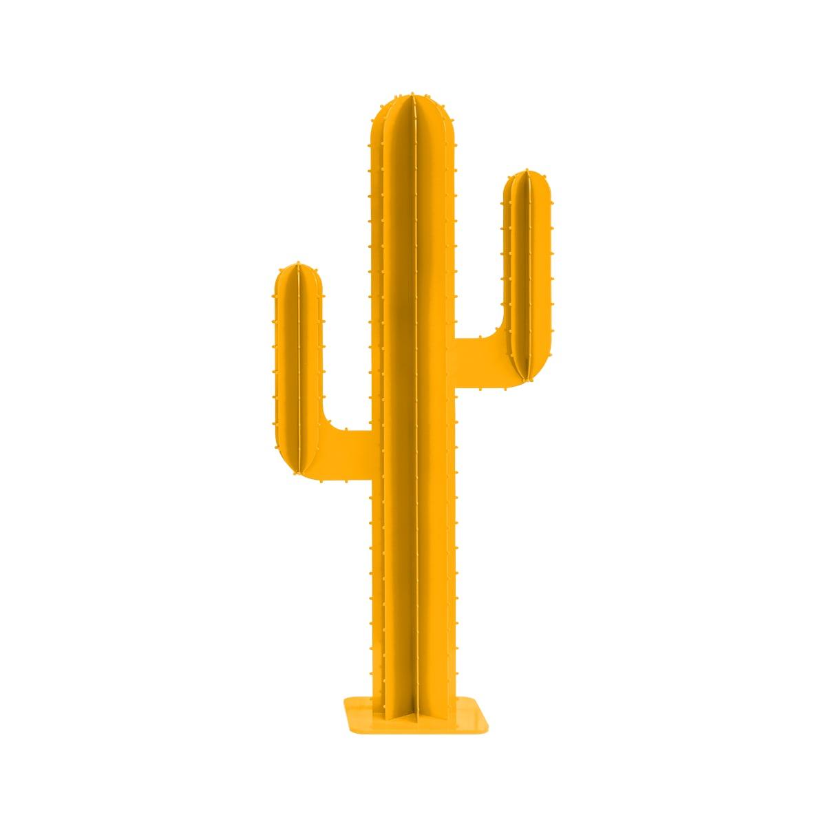 Cactus de jardin 2 branches en aluminium jaune H150cm