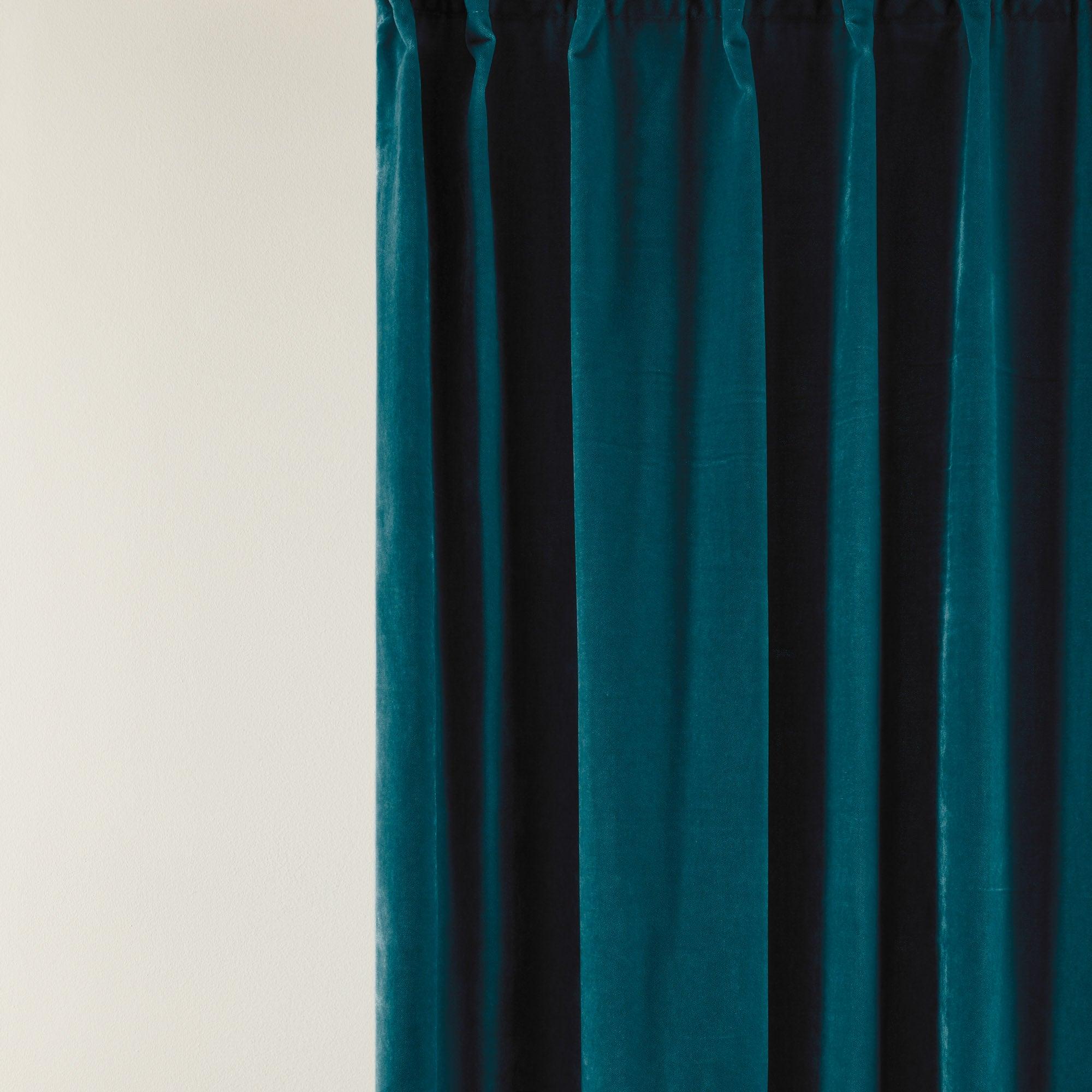 Rideau à ruban fronceur DARIO 134x280 cm Bleu turquoise foncé