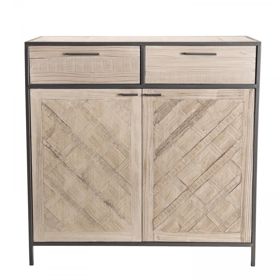 Buffet 2 portes 2 tiroirs bois sapin et métal
