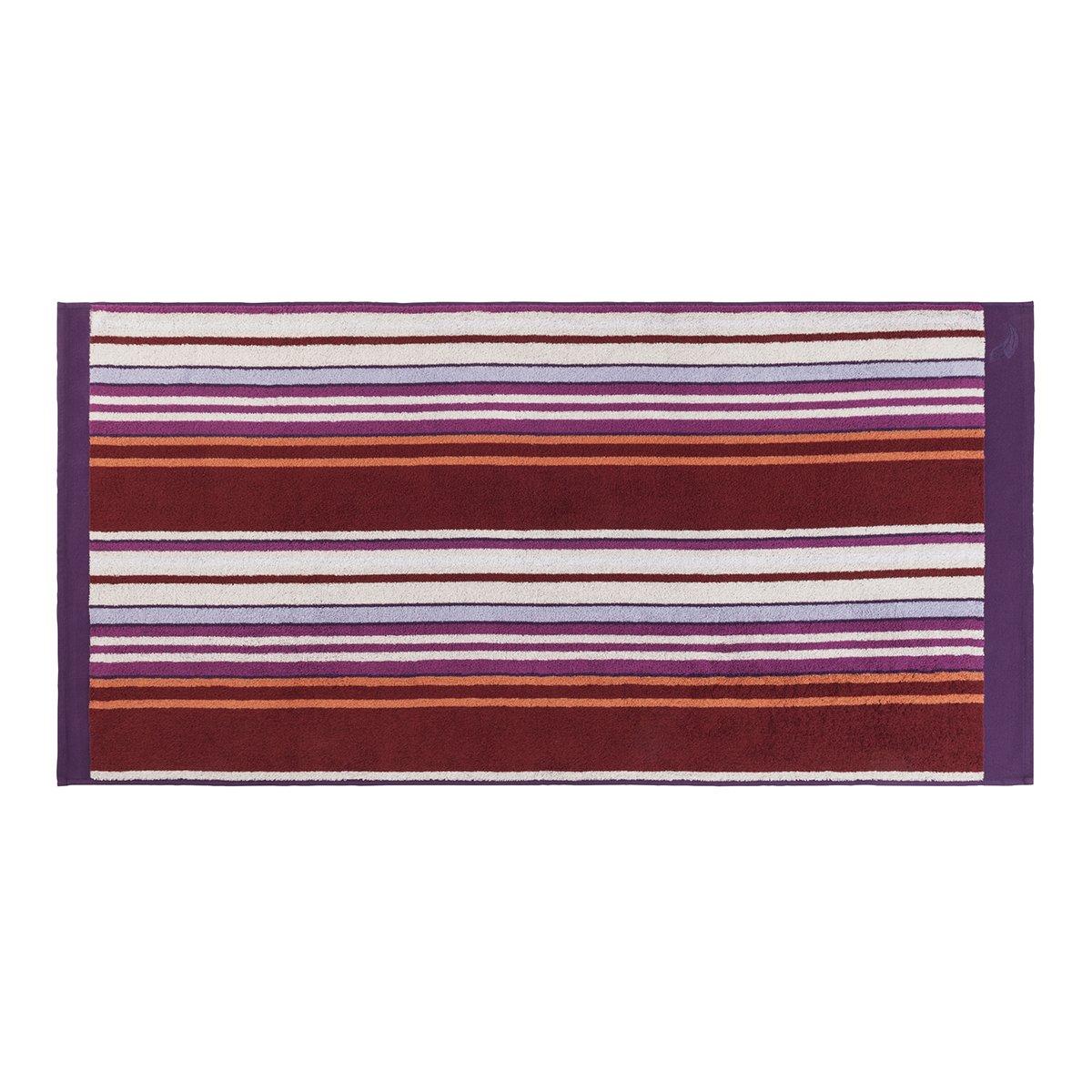 Drap de douche coton 70x140 cm violet rayé