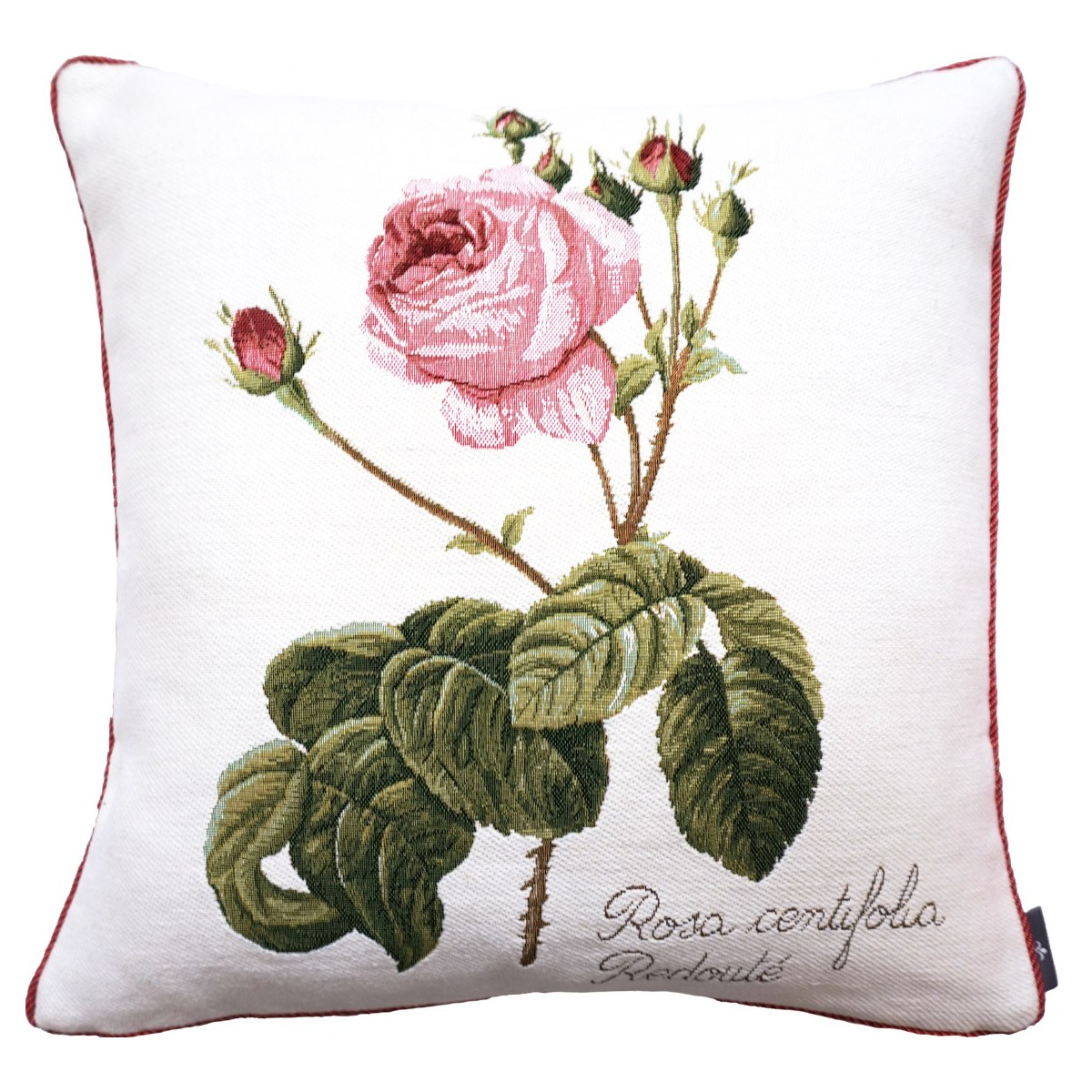 Coussin rose à gauche made in france blanc   50x50