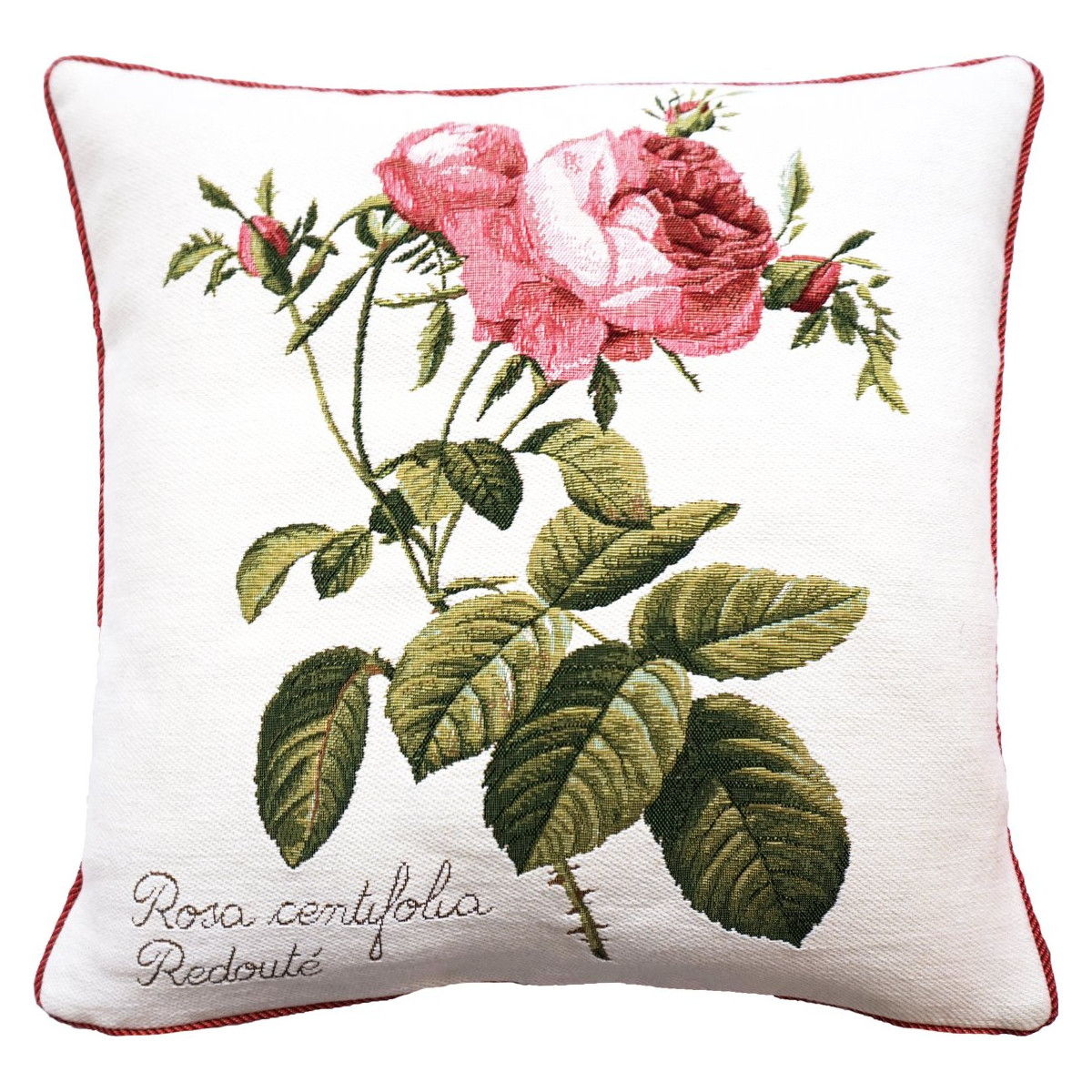 Coussin rose à droite made in france blanc   50x50