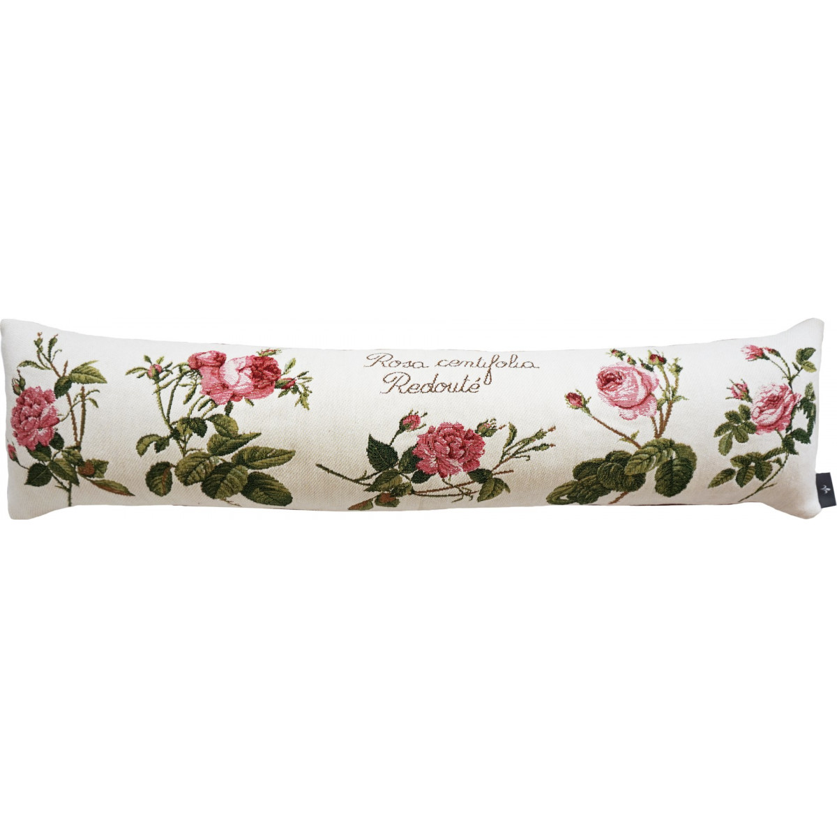 Coussin roses de redouté made in france blanc 25x90