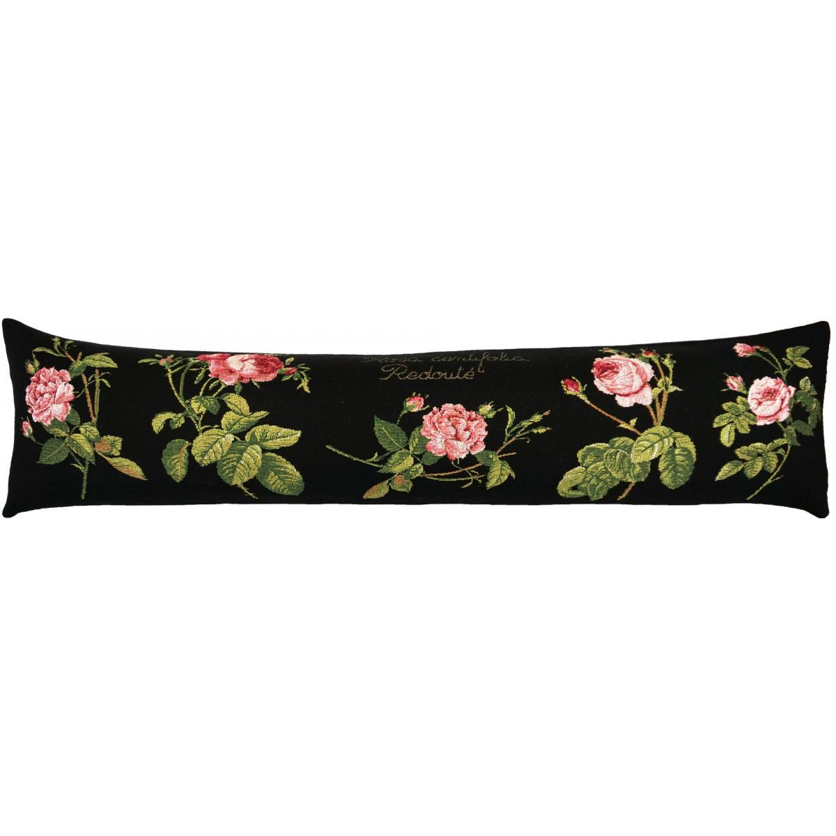 Coussin roses de redouté made in france noir 25x90