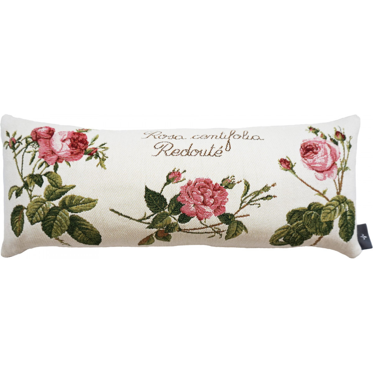 Coussin roses de redouté made in france blanc 25x60