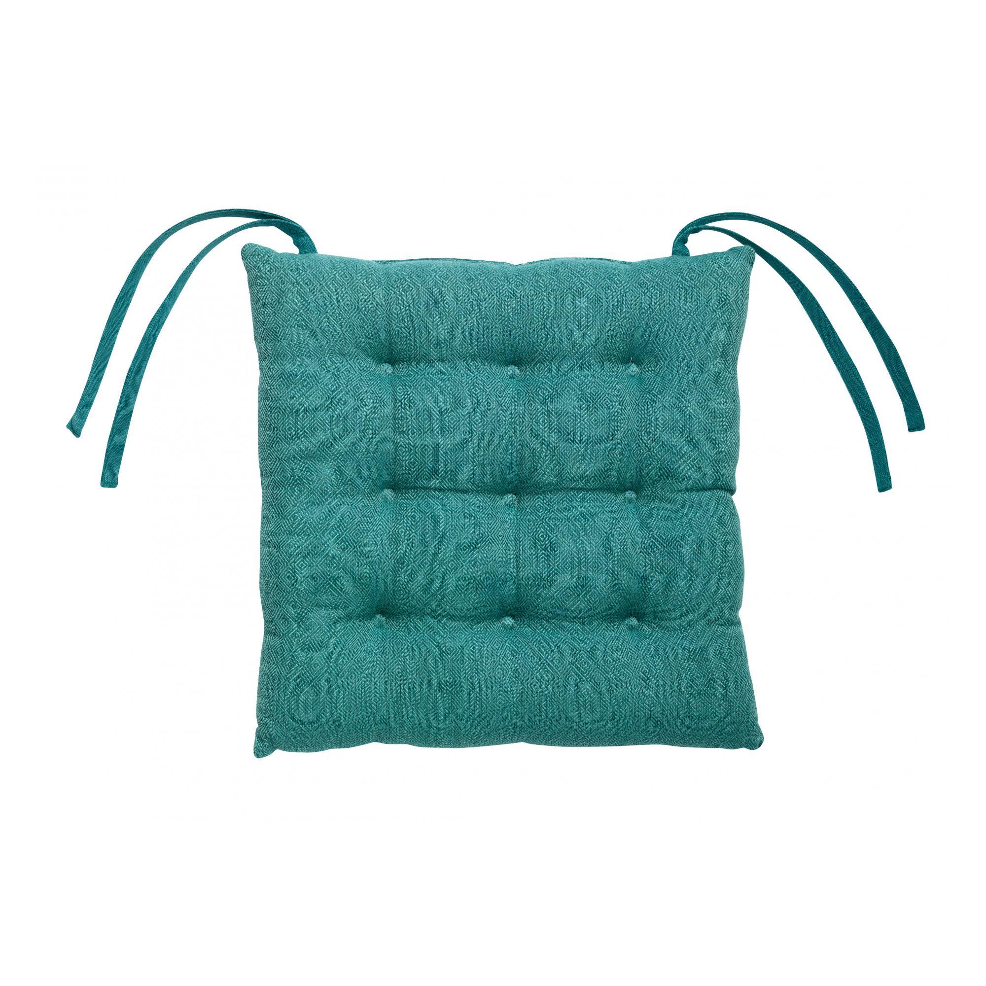 Galette de chaise piquée 9 points en coton paon 38 x 38 x 4