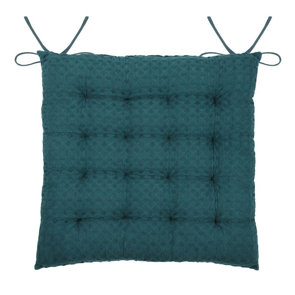 Coussin de chaise en coton bleu canard 40x40