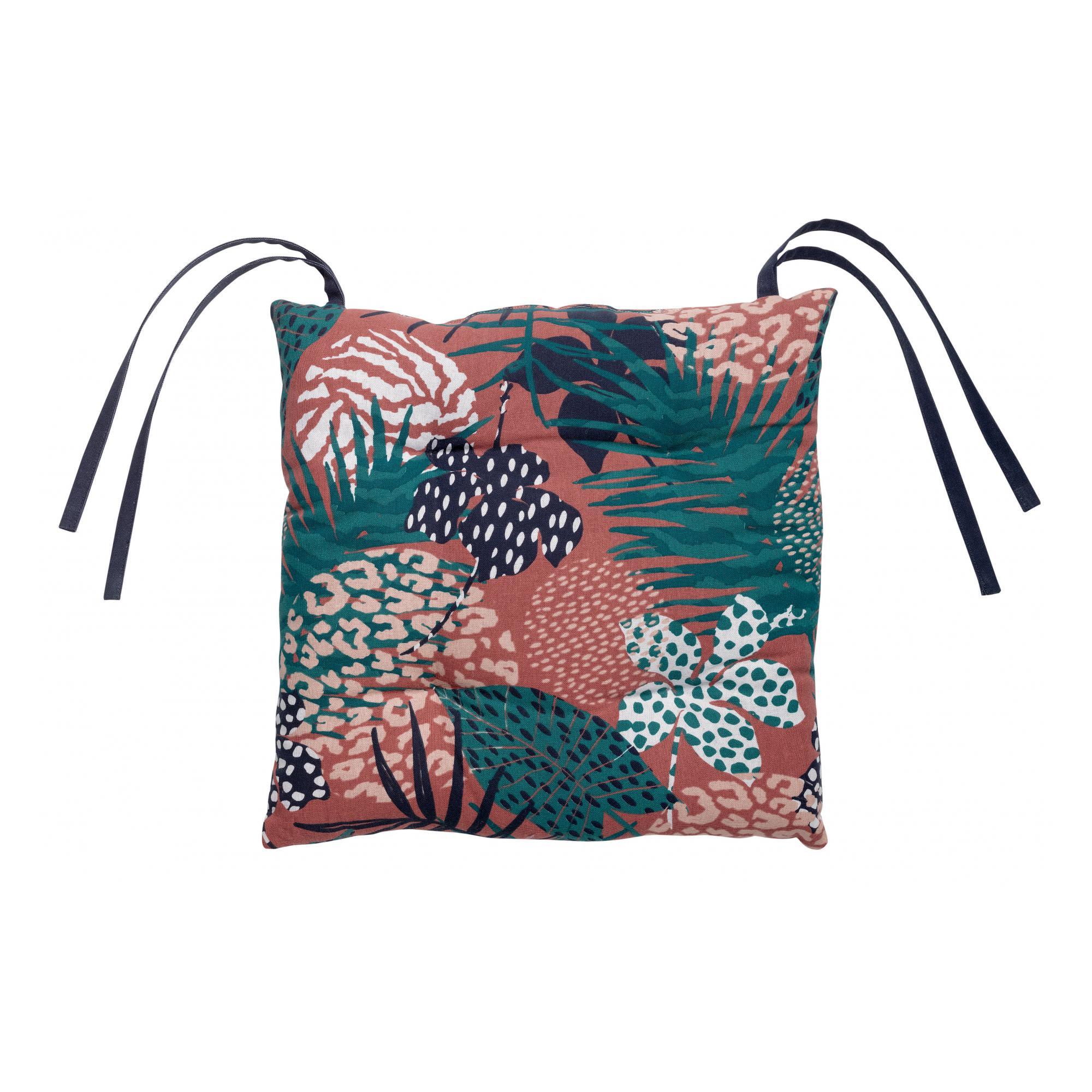 Galette de chaise en coton terracotta 38 x 38 x 3
