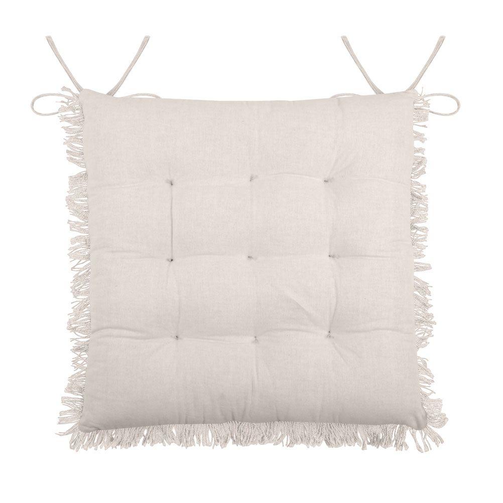 Coussin de chaise en coton écru 40x40