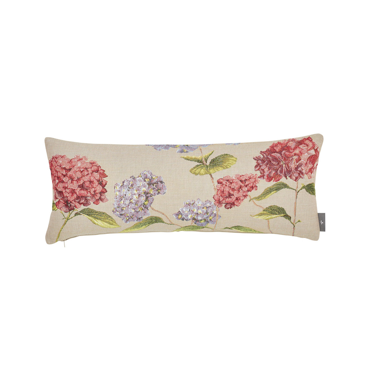 Coussin tapisserie hortensias made in france beige 25x60
