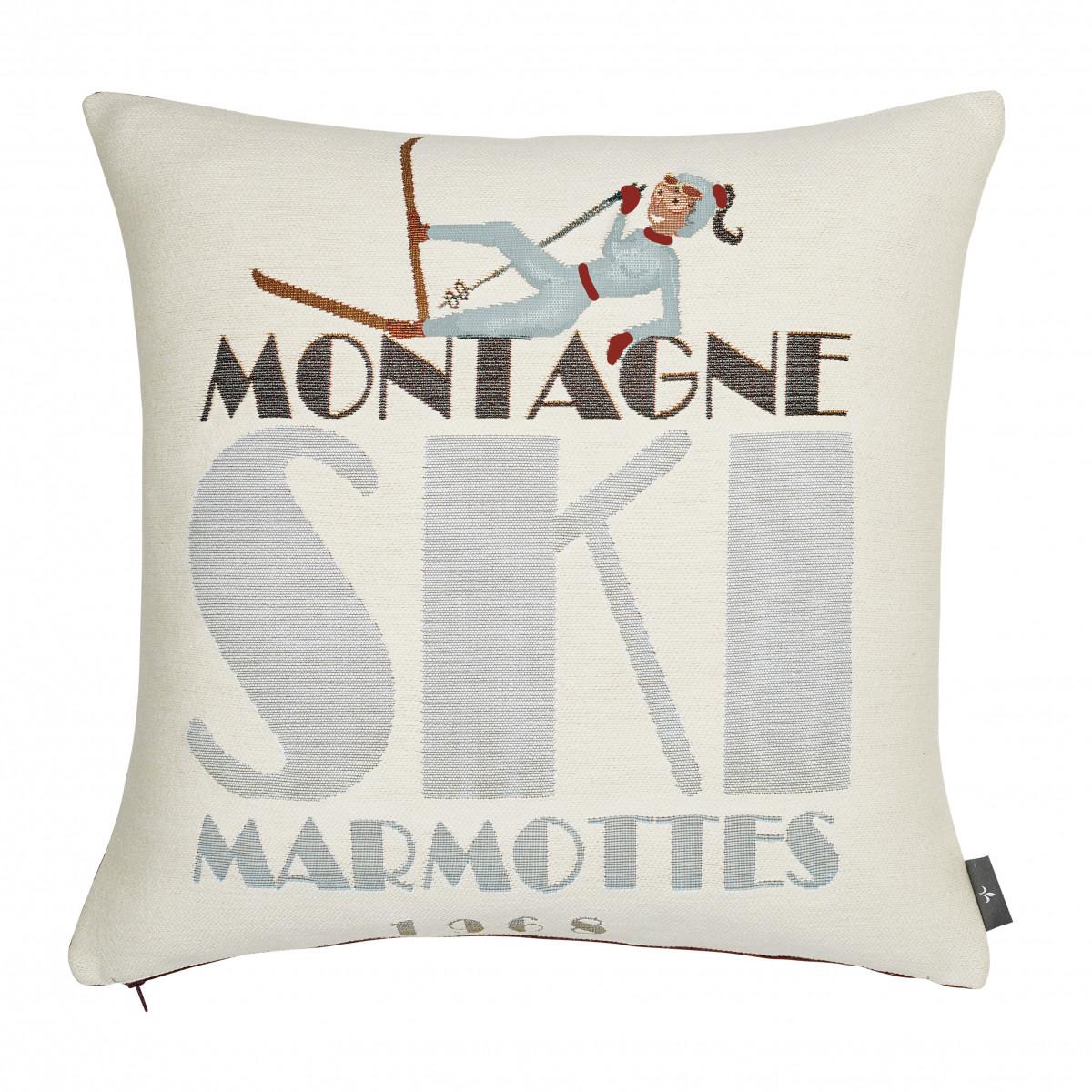 Coussin tapisserie chute de ski made in france blanc   50x50