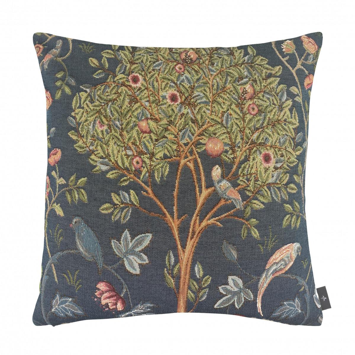 Coussin tapisserie kelmscott tree made in france bleu   50x50