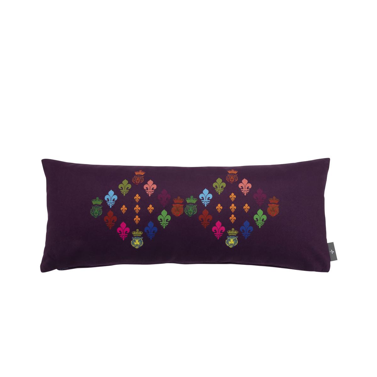Coussin lys imprimé sur velours made in france violet 25x60