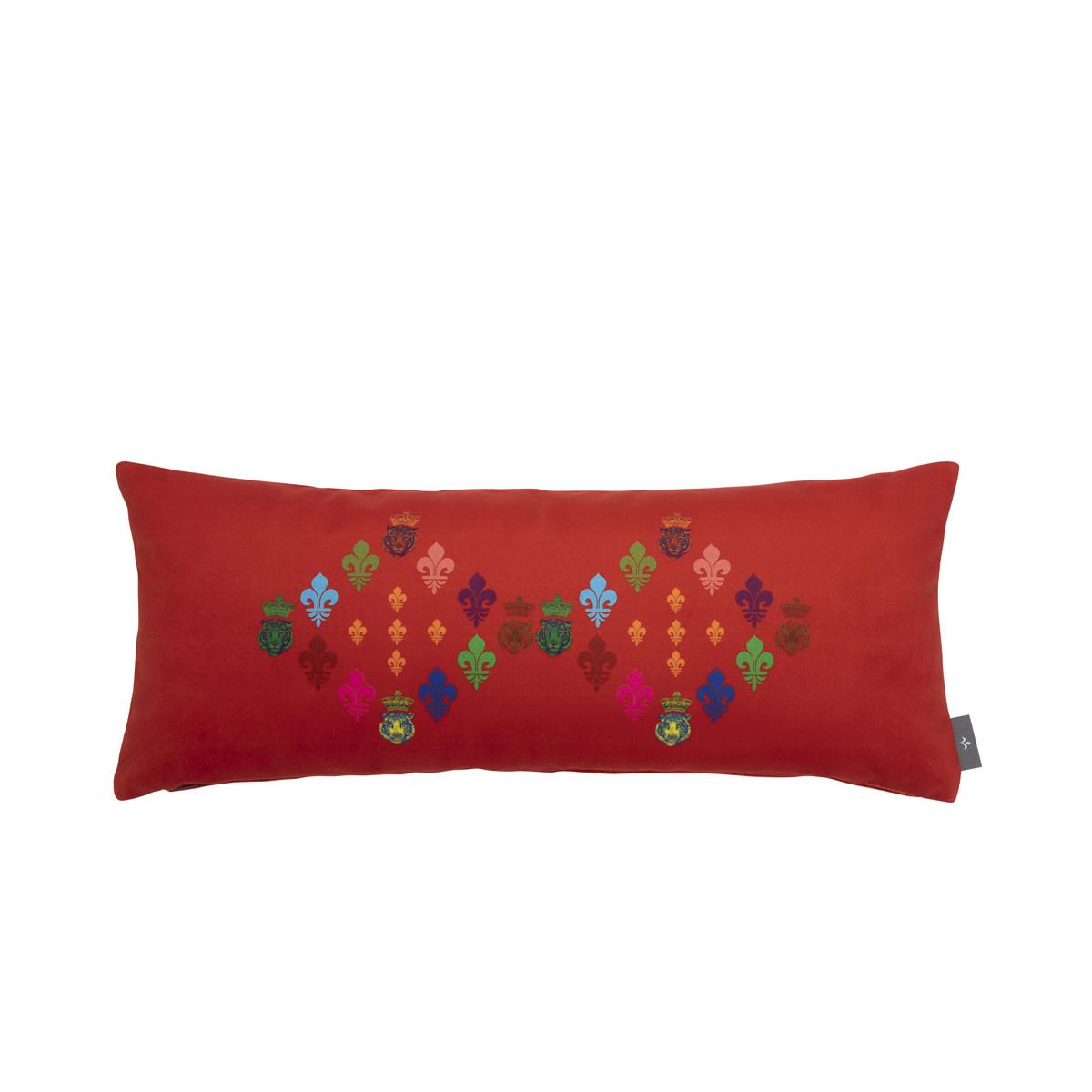 Coussin lys imprimé sur velours made in france rouge 25x60