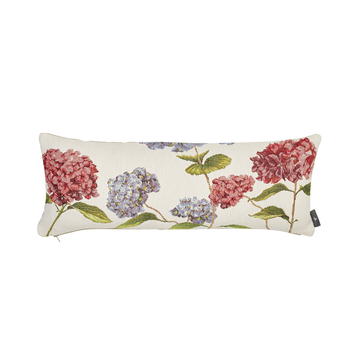 Coussin tapisserie hortensias made in france blanc 25x60
