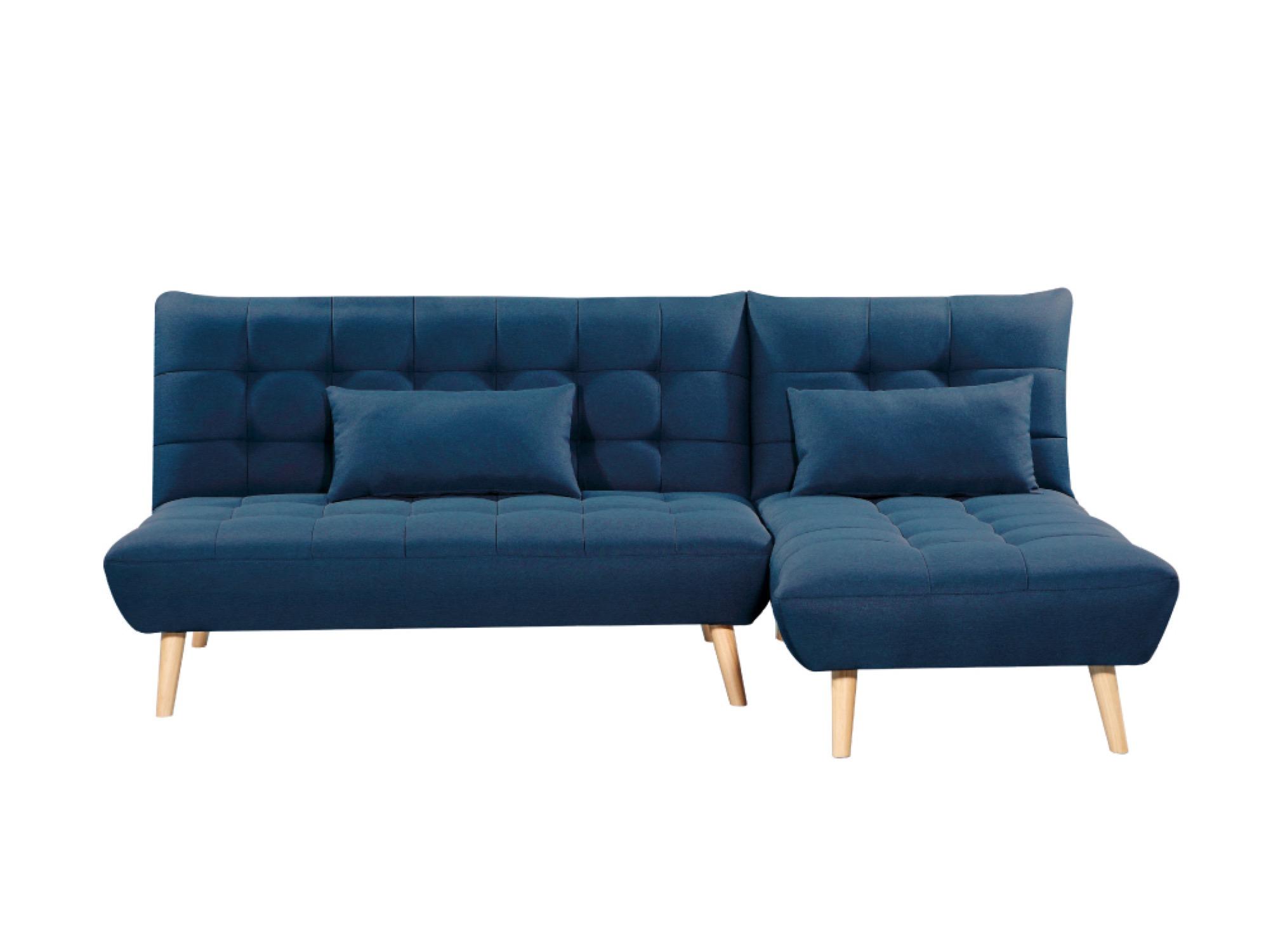 Canapé d'angle 3 places Bleu Tissu Scandinave Confort