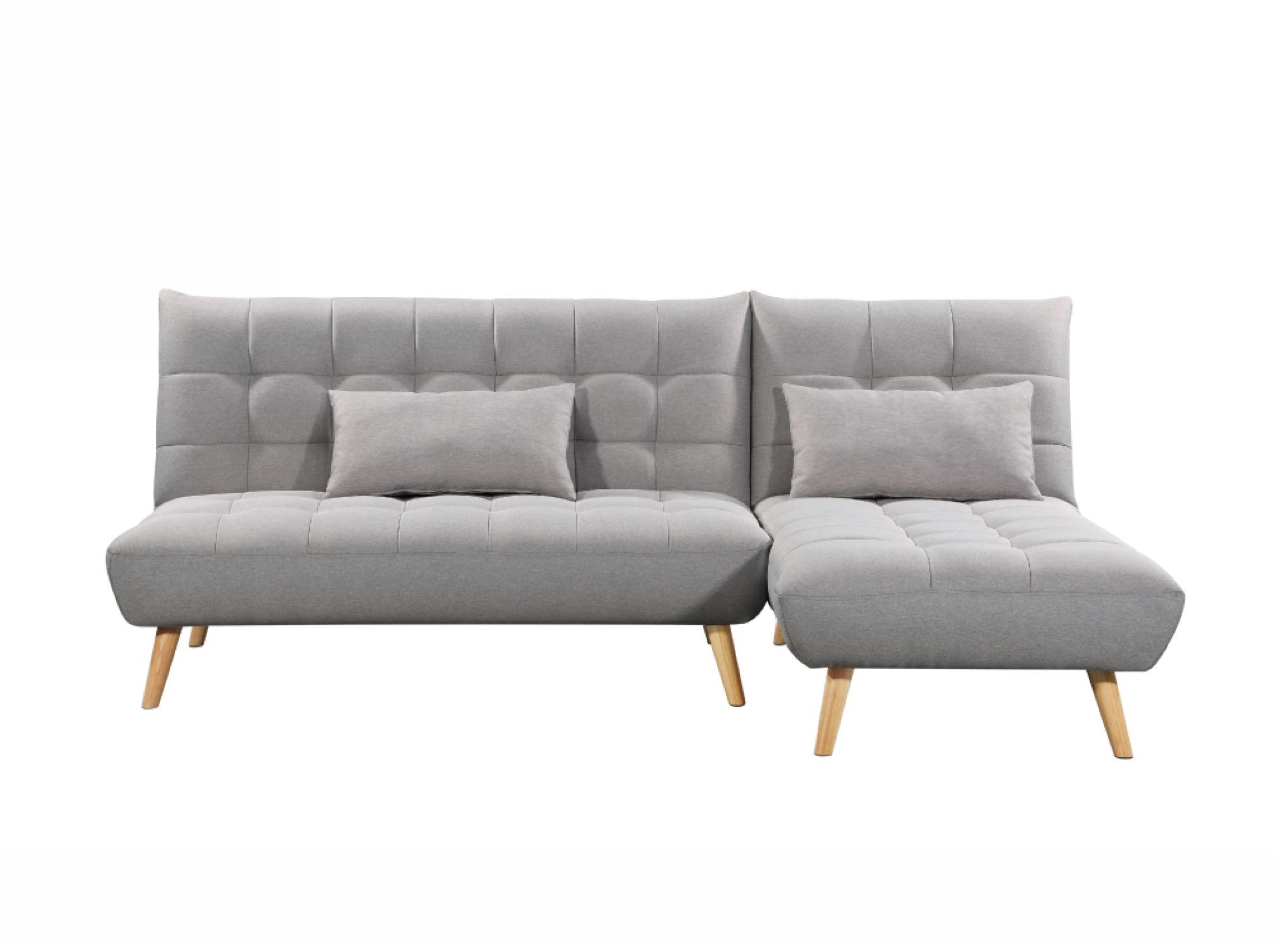 Canapé d'angle gris clair réversible et convertible