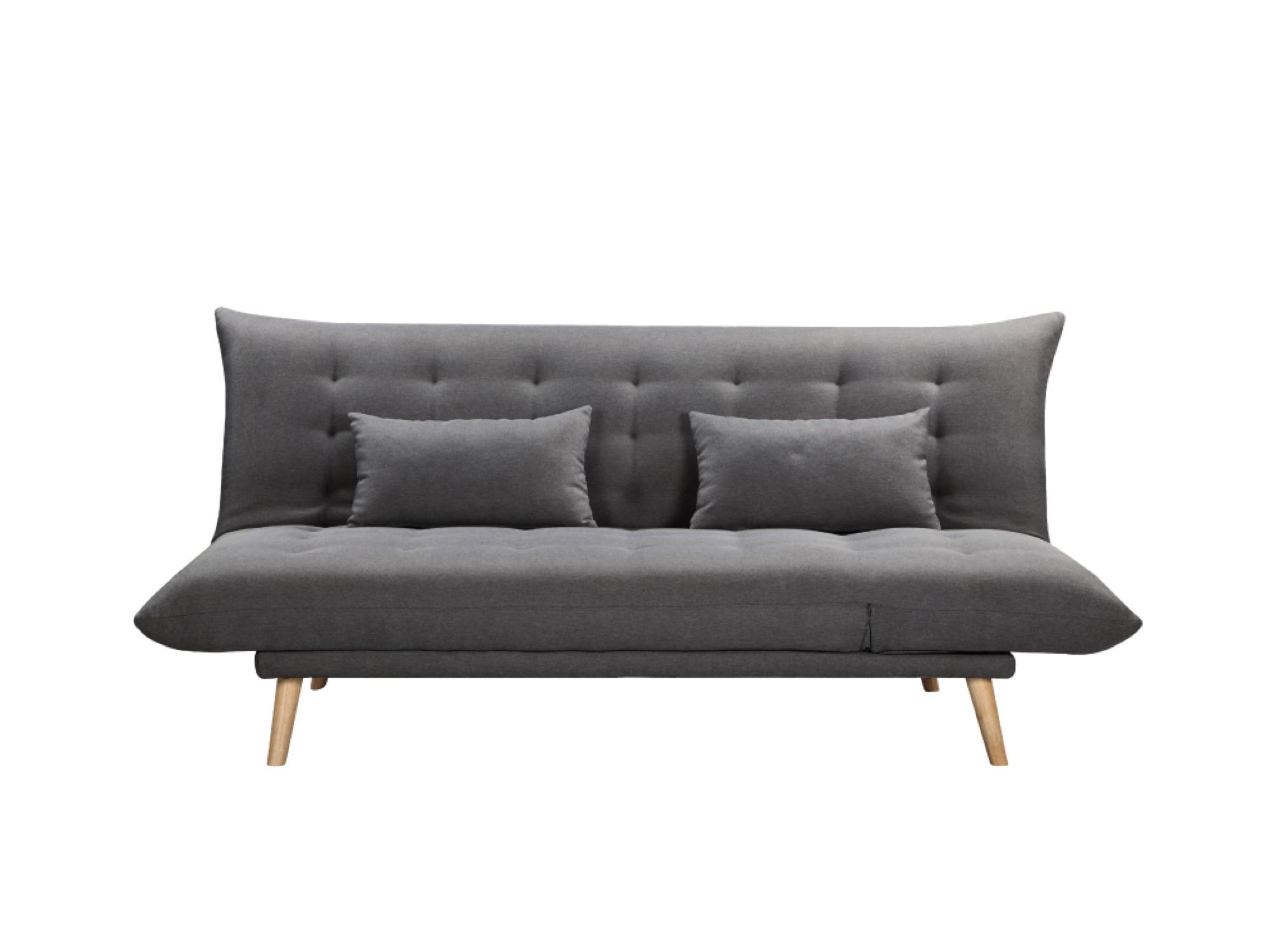 Canapé droit gris foncé convertible en tissu