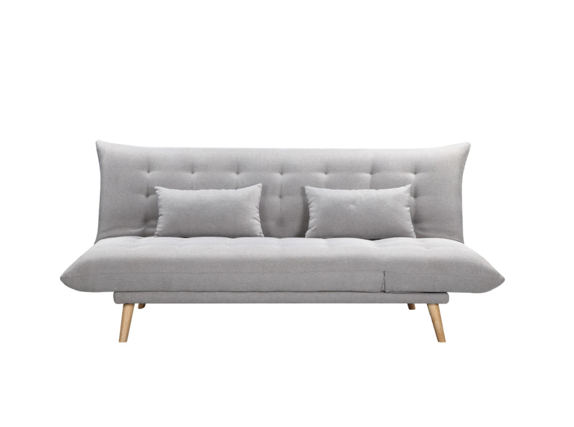 Canapé droit gris clair convertible en tissu