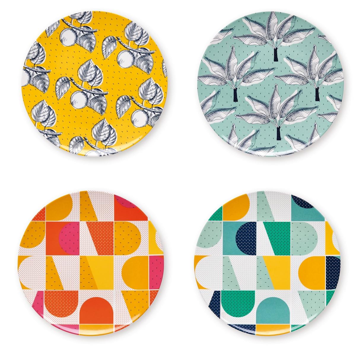 Lot de 4 assiettes à motifs multicolores