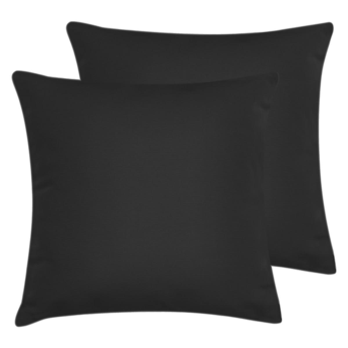 Lot de 2 taies d'oreiller en coton Noir 65x65 cm