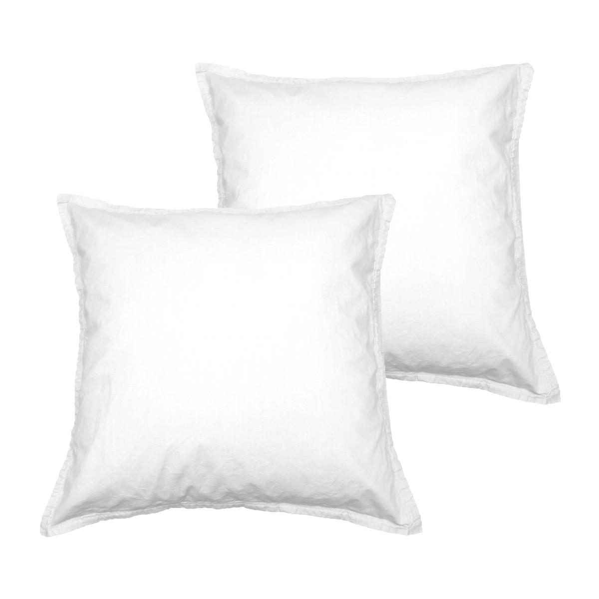 Lot de 2 taies d'oreiller en coton Blanc 65x65 cm
