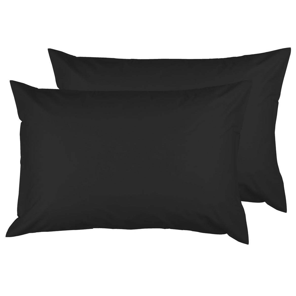 Lot de 2 taies d'oreiller en coton Noir 50x70 cm