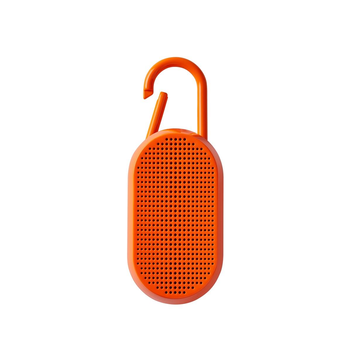 Enceinte bluetooth avec mousqueton en ABS orange