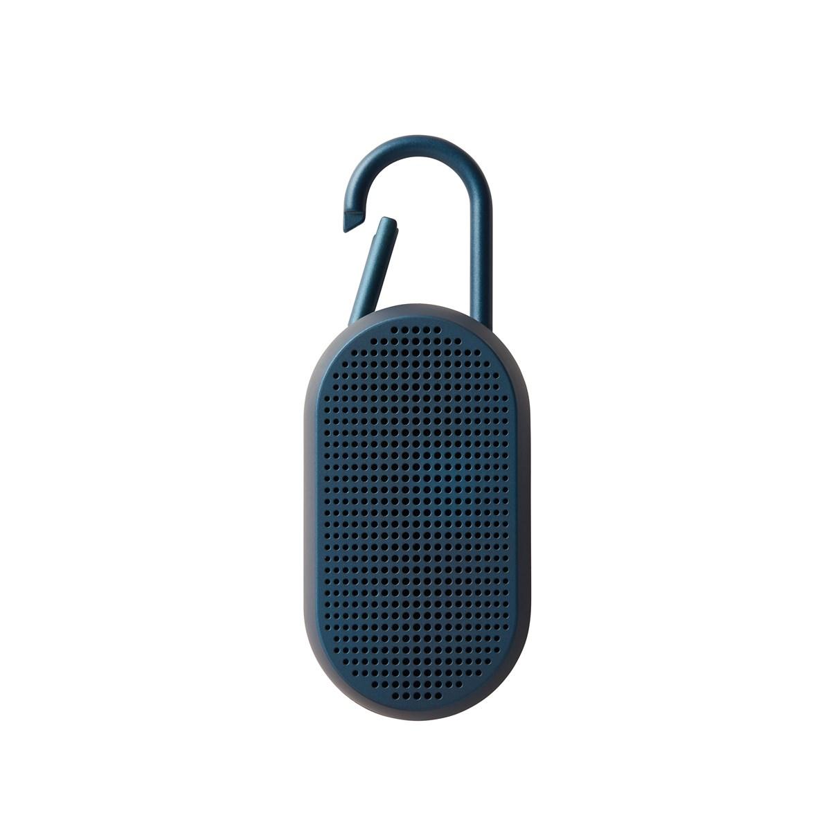 Enceinte bluetooth avec mousqueton en ABS bleu nuit