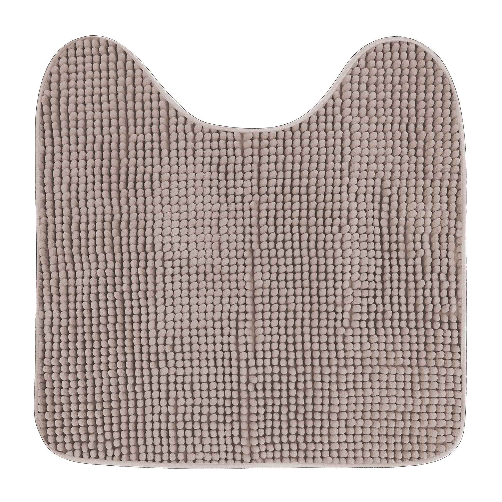 Tapis contour wc uni et coloré polyester taupe 45x45