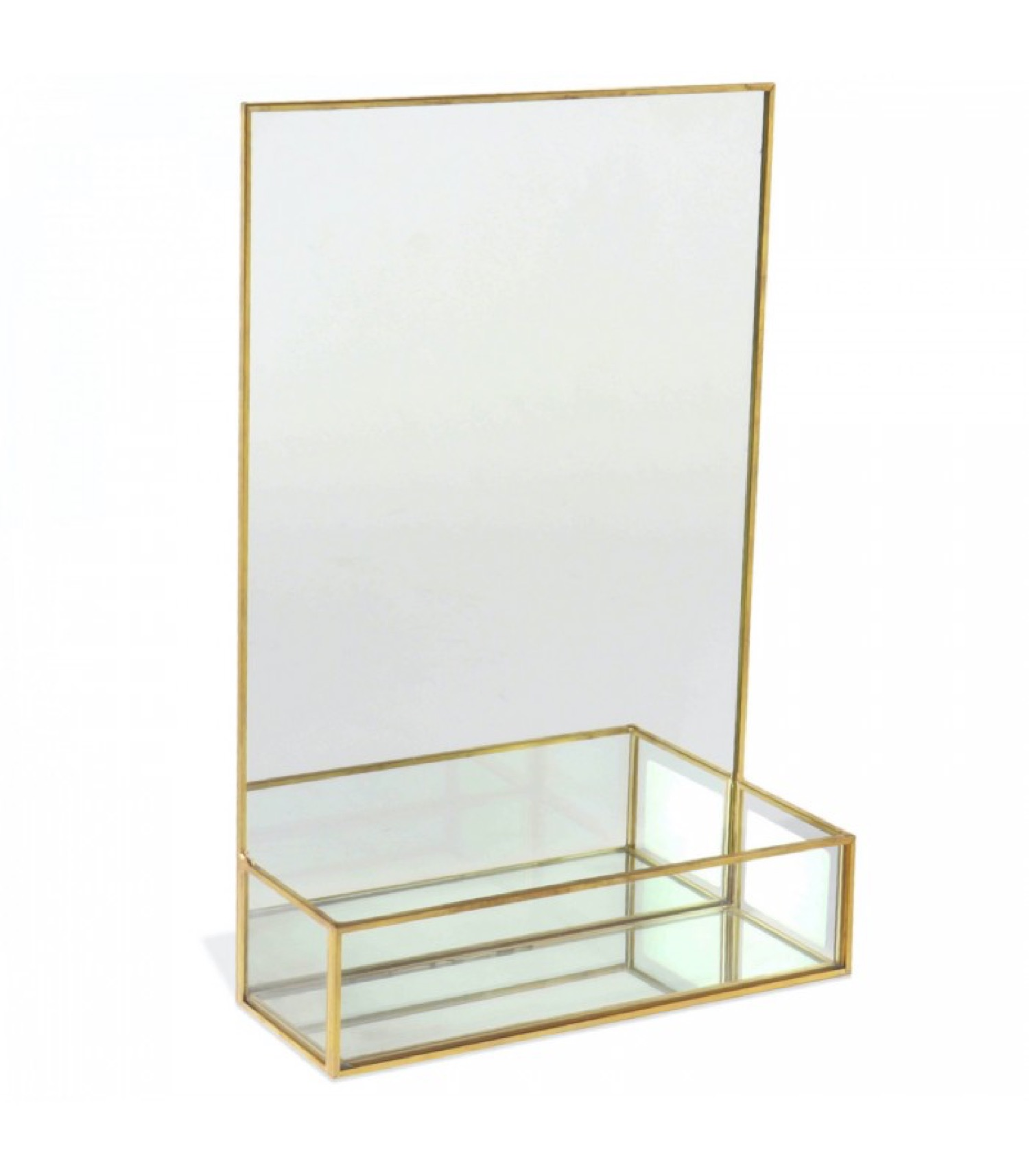 Miroir à poser métal doré avec étagère 20x30cm