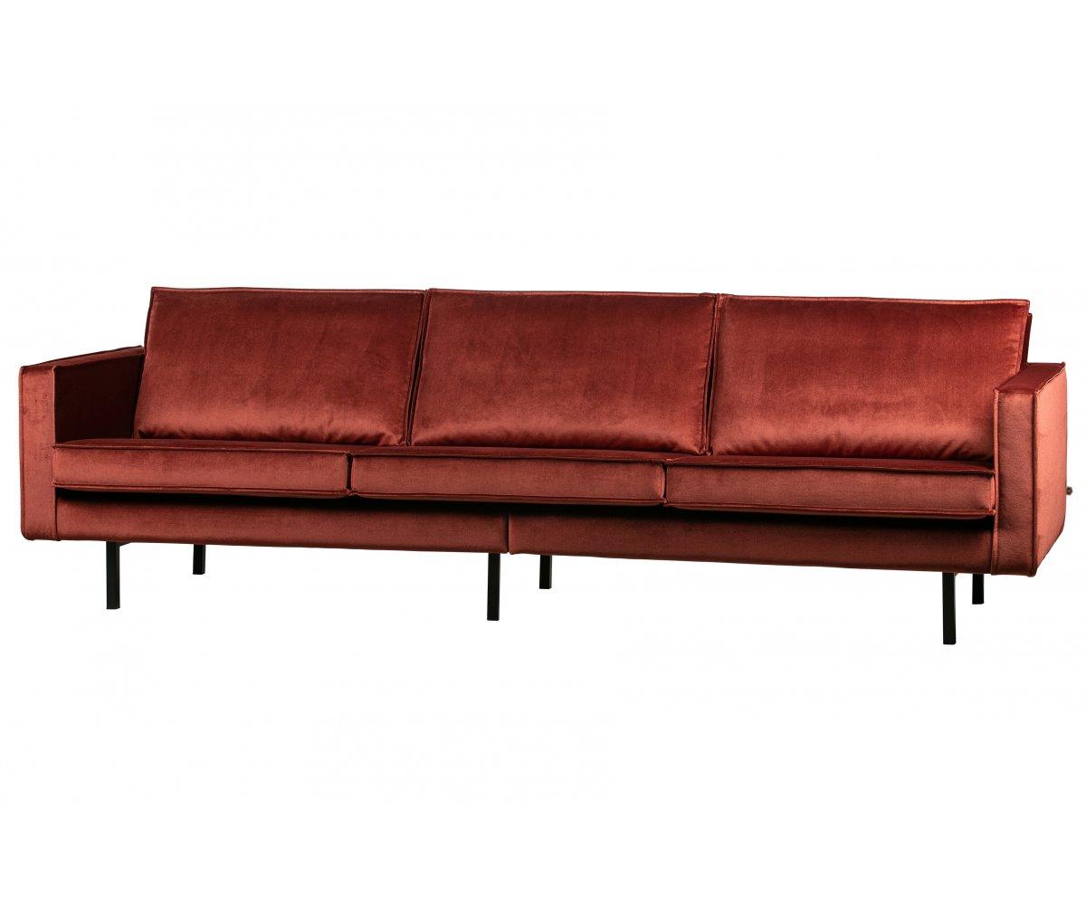 Canapé droit 4 places Rouge Tissu Design Grand